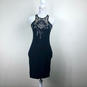 Express Sequin black bodycon mini dress